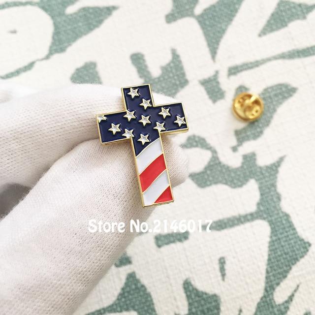 50pcs Custom Enamel Lapel Pins Brooch Christian Cross Pin Badge With USA  Flag American US Patriotic