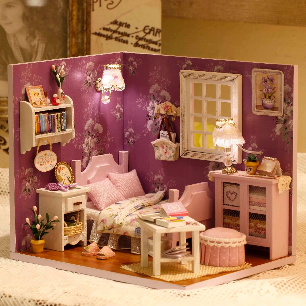 CUTE ROOM Diy font b Toys b font Handmade Doll Miniature Furniture DIY Doll house Wooden