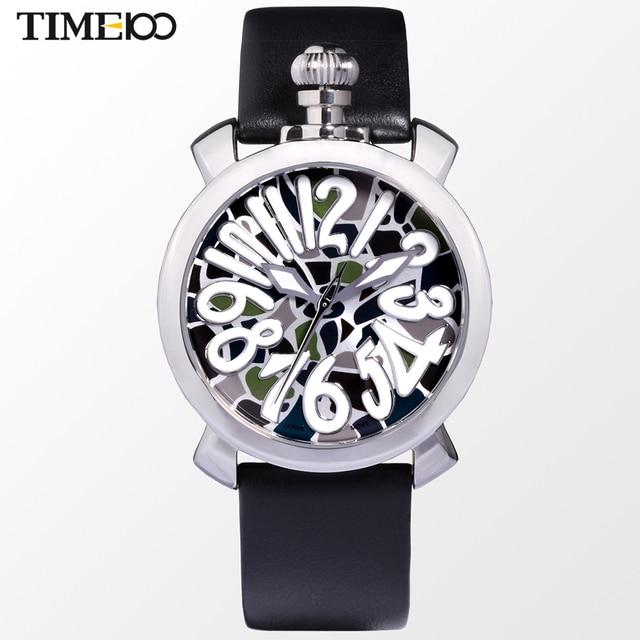 e5dfe76526c Fashion Time100 Women Quartz GaGa Watch Cartoon Number Black Leather Strap  Ladies Quartz Dress Casual Watches