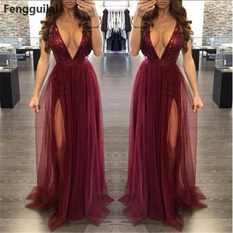 Sleeveless Women Deep V Neck Dress High Waist Pleated Mesh Clothes Women Long Formal Dress Party Ball Gown Dress