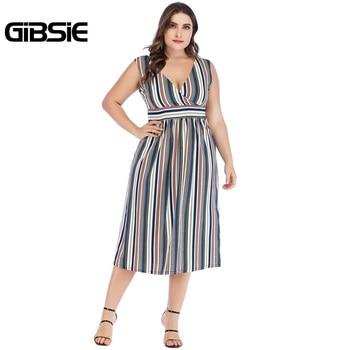 GIBSIE Sexy Wrap V Neck Striped Long Dress 5xl 4xl 3xl Summer Women Plus Size Dresses Female Sleeveless High Waist A Line Dress