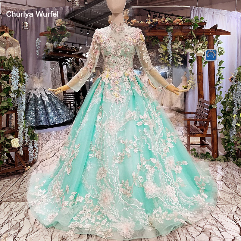 LS66552 Muslim Colorful Cheap Evening Dress Long Sleeves High Neck Flowers Floor Length A-line Beauty Girls Graduation Dresses