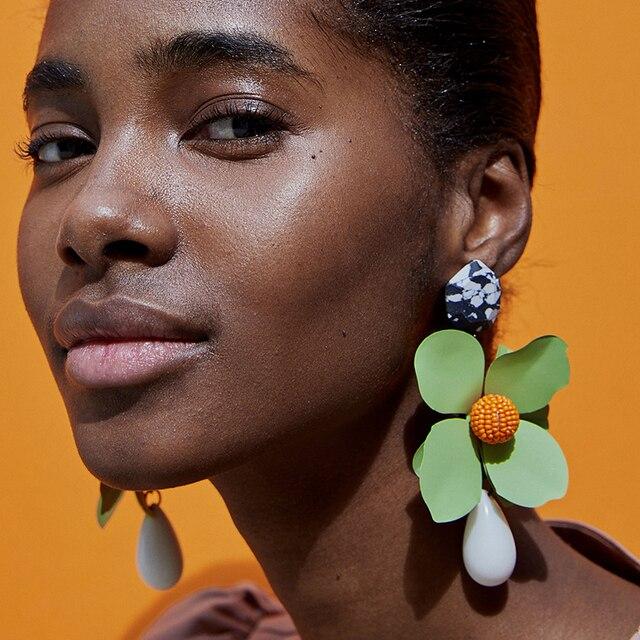 Dvacaman Green Flower Statement Dangle Earrings for Women Trendy Brand Pendiente
