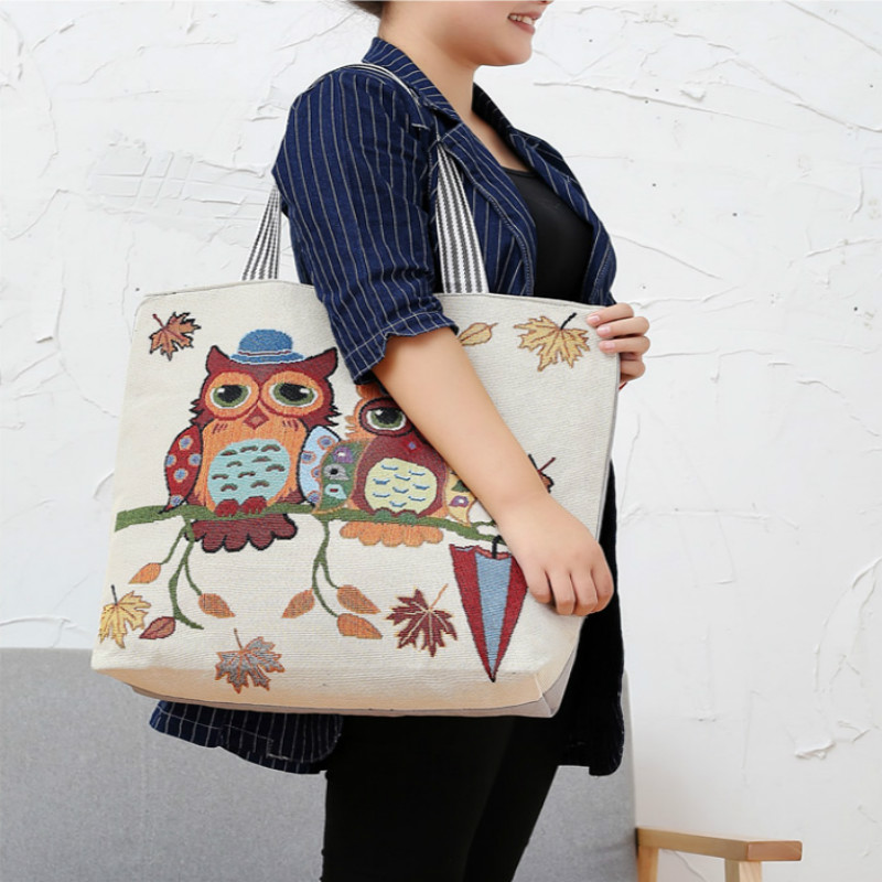 big Pink Cartoon Owl Printed Shoulder Bag Women Mother Large Capacity Female Shopping Bag Canvas Handbag Summer Beach Bag Ladiesbig Pink Cartoon Owl Printed Shoulder Bag Women Mother Large Capacity Female Shopping Bag Canvas Handbag Summer Beach Bag Ladies