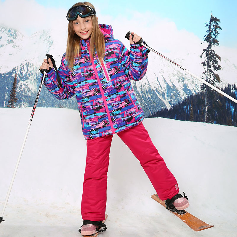 For 30 Degree Warm Coat Sporty Ski Suit Waterproof Windproof Girls Jackets Kids Clothes Sets Children