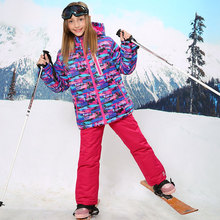 For -30 Degree Warm Coat Sporty Ski Suit Waterproof Windproof Girls Jackets Kids Clothes Sets Children Outerwear For 3-16T недорого