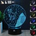 HUI YUAN Áries 3D Humor Lâmpada Night Light RGB Mutável LED decorativo candeeiro de mesa de luz dc 5 v usb obter um free remoto controle