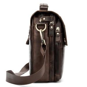 Image 5 - WESTAL Bolso de hombro de piel auténtica para hombre, bandolera vintage, diseño de bolsos, 8558