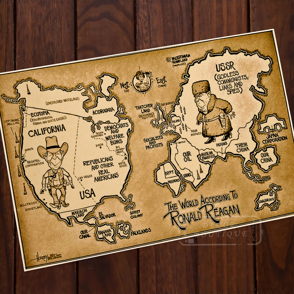 World According Ronald Reagan Map Classic Vintage Retro Kraft ...