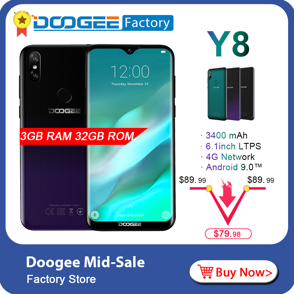 DOOGEE Y8 New 3GB 32GB 6 1 inch Waterdrop Screen Smartphone 8MP 5MP Face ID Android