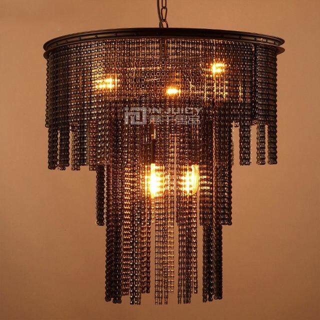 Loft Vintage Industrial Edison Metal Chain Iron Chandelier For Corridor Cafe Bar Bedroom Hotel Dining Room