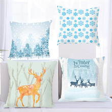 Fuwatacchi Christmas Cushion Cover Snowflake Printing Happy Day Joy Holiday Gifts Tree Throw Pillow Pillowcase Sofa Home Decor