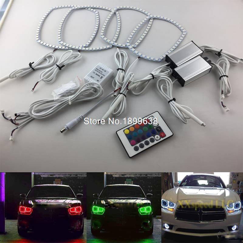 For Dodge Charger 2011 2012 2013 2014 RGB LED headlight rings halo angel demon eyes with remote controller for fiat linea 2007 208 2009 2010 2011 2012 2013 2014 2015 rgb led headlight rings halo angel demon eyes with remote controller
