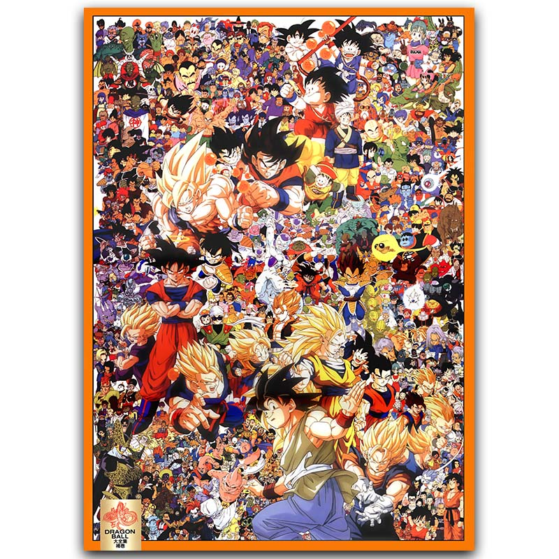 Dragon Ball Z All Characters Art Silk Poster 30x45cm 60x90cm New Japanese Anime Wall Pictures for Home Wall Decor dragon ball z goku all forms
