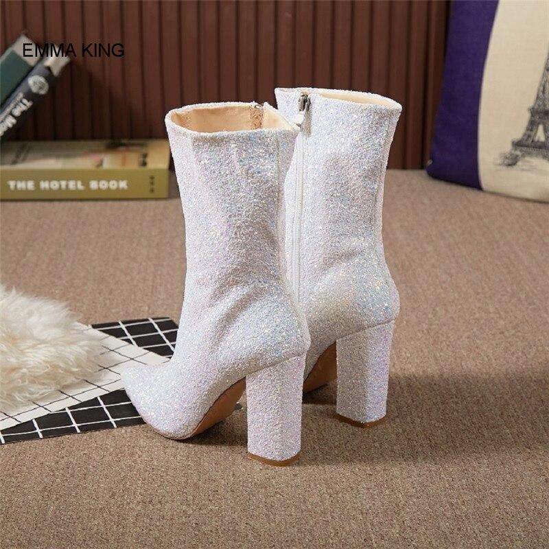 Pu Mediados Otoño Alto Plaza Botas Punta Ternero Mujer Bling De White Moda Nueva Primavera Zapatos Señoras Blanco Tacón Fiesta qf8ntx7g