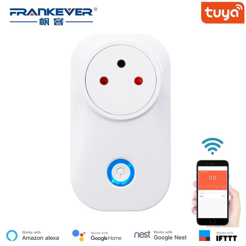 FrankEver Tuya Nuvem 10A 16A Israel WiFi Tomada Inteligente Sem Fio Plug Funcionar Com Alexa Assistente Google IFTTT Vida Inteligente APP