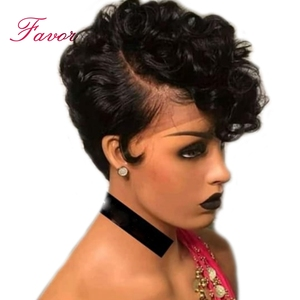 Image 4 - 13x6 브라질 짧은 밥 레이스 프론트 가발 pre plucked pixie cut 밥 사이드 파트 여성용 인간의 머리 가발 remy bouncy curly lace wig