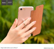 Hoco для iPhone 7 и 7 плюс металлическое кольцо на палец держатель PU кожа флип чехол для Apple чехол стильный современный чехол