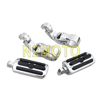 "Short Angled Chrome 1 1/4"" Highway Passenger Engine Guard Footpeg Male Mount Foot Rest for Harley Softail Road King Touring"