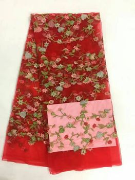 5 Y/pc Gorgeous red french net lace fabric and nice flower design embroidery african mesh lace for dress RN3-1