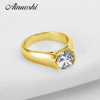 2 Ct Solitaire Round Cut Wedding Ring 10K Yellow Gold Jewelry For Women Vintage Band Luxury