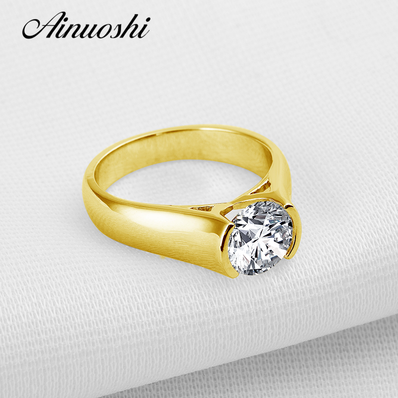 AINUOSHI 10k Solid Yellow Gold Wedding Ring 2 ct Solitaire Round Cut Simulated Diamond Jewelry Vintage Luxury Women Wedding Ring ainuoshi 10k solid yellow gold women engagement ring 3 5 ct round cut simulated diamond shiny luxury flower shape wedding ring