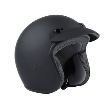 Matte Black Helmet and Visor DOT Adult Motorcycle Motorbike Scooter 3/4 Open Face S M L XL