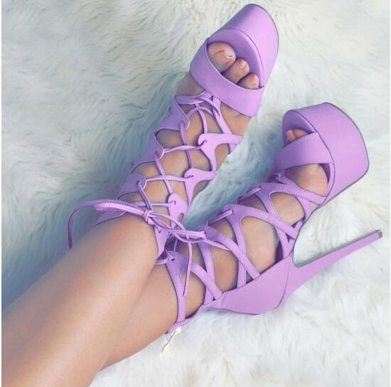 2017 Summer Young Gril's Sweet Platform Pumps Purple Color Extremely High Heel Dress Sandals Cross Strappy Lace Up Cage Shoes strappy dress with lace up detail
