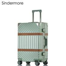 Sindermore marco de aluminio y PC Continuar Hardside Rolling Spinner Trollry maleta de equipaje de viaje de viaje para niñas y mujeres hombres