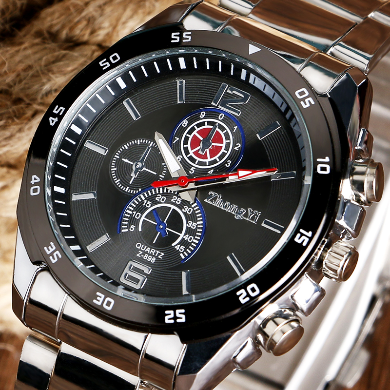 Trendy Analog Black/White Dial Sport Wrist Watch Round Ourdoor Military Quartz Business Cool Men