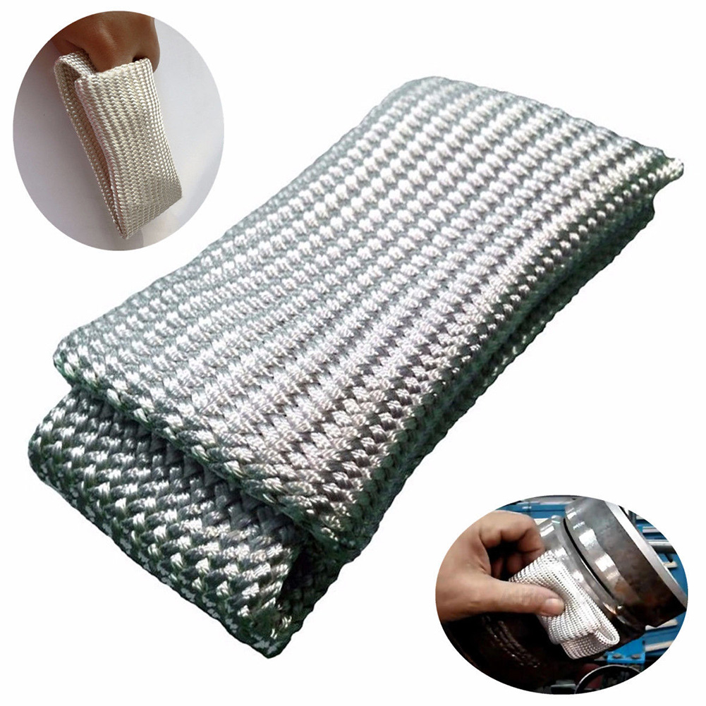 High Temperature Insulation Beige Protection Gear Finger Heat Shield Glass Fiber Sleeves Workplace Anti-scald Welding Gloves Tig