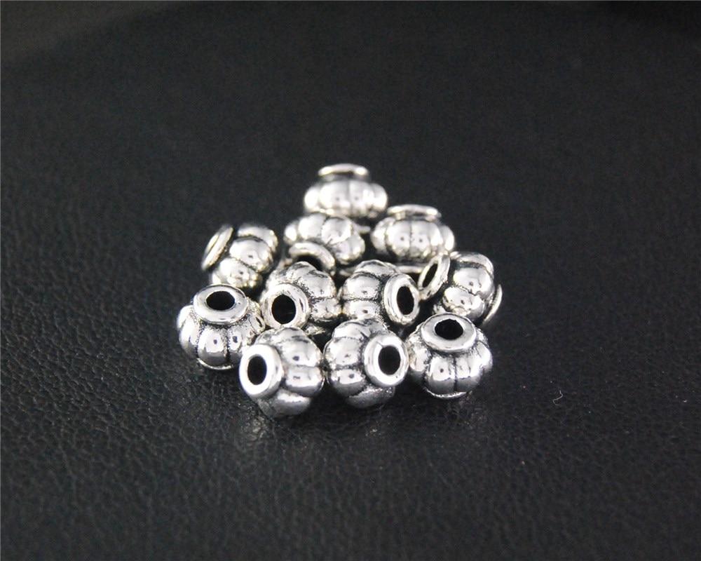 100pcs Antique Sliver Pumpkin Spacer Beads Round Charm Fit Bracelets Necklance DIY Metal Jewelry Making 5x6mm A2106