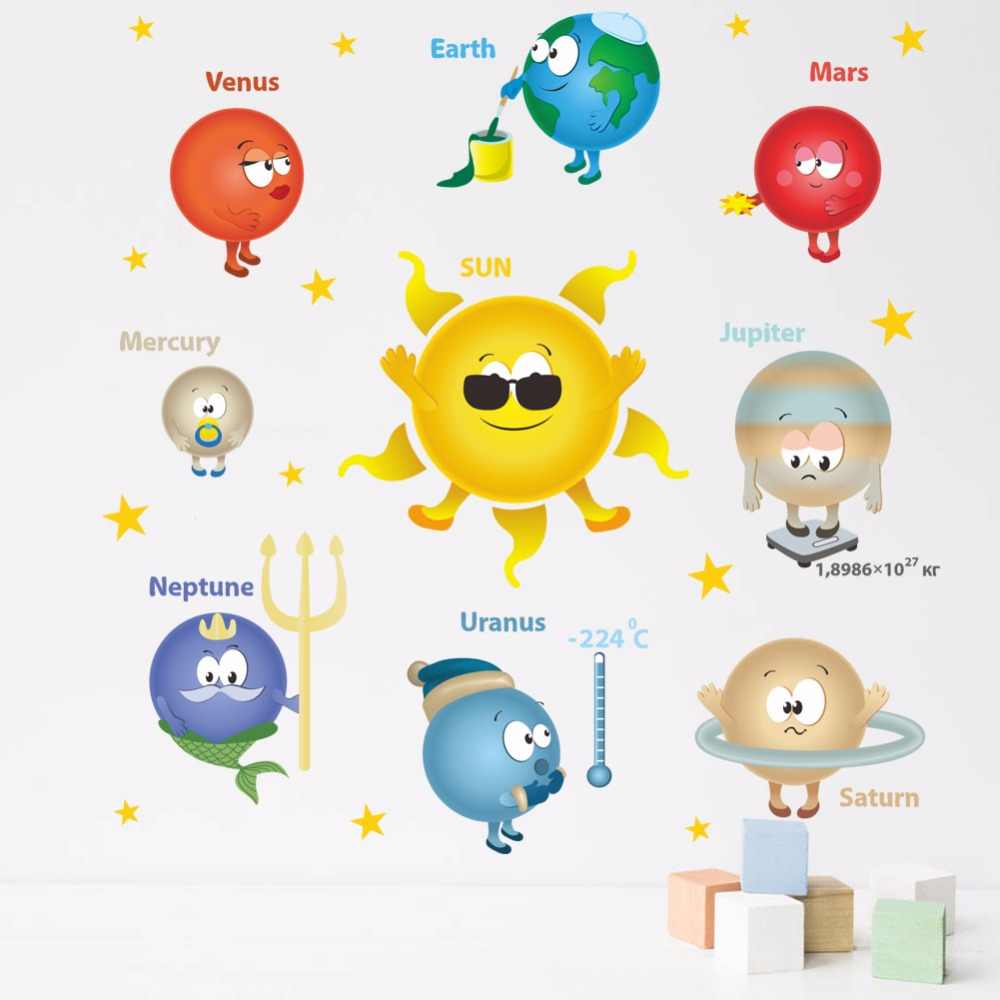 Cartoon Happy Solar System Wall Stickers Kids Room Bathroom