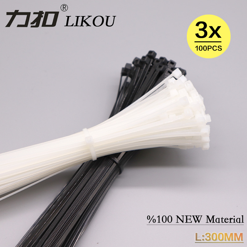 LIKOU Nylon cable ties 3x300mm width2.5mm Plastic self-locking straps 100PCS Black/white