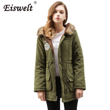 Plus Size XXXL Parka Women Coat Winter Military Coats Women Wadded Cotton Fur Hooded Jacket Medium-long Casual Thickness Outwear