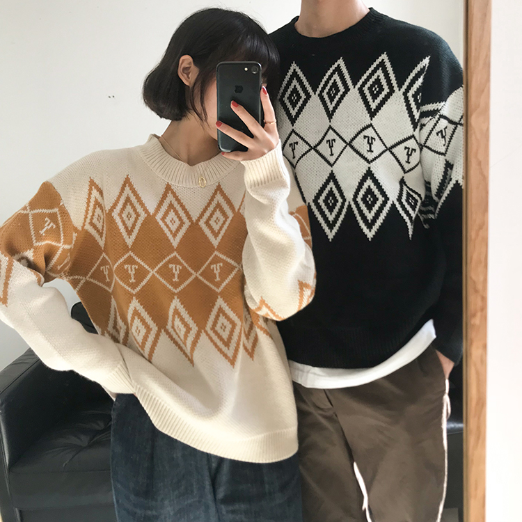 5994de697b sweaters fashion autumn 2019 winter clothes women harajuku korean  personality retro couple rhombic letter knitted sweater
