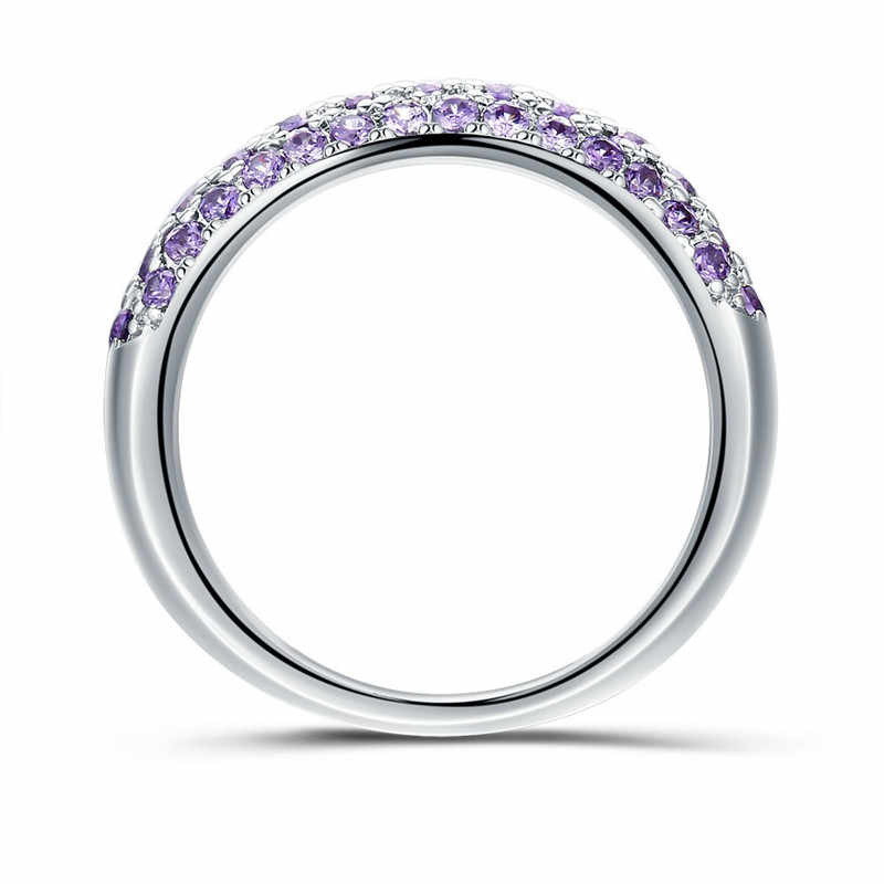 3 Coors Handmade ครบรอบแหวนผู้หญิง Pave การตั้งค่าสีม่วง/สีเหลือง/สีขาว Cz 925 เงินหญิงหมั้นแหวน