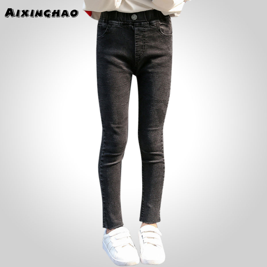 Kids Girls Jeans Black Color Girl Jeans Kids Autumn Spring Kids Jeans 6 8 10 12 13 14 Years Teenage Girls Clothes title=