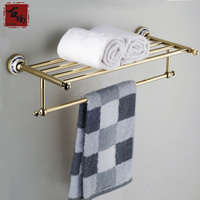 Bathroom New Arrival Copper Gold Antique Towel Rack Fashion Vintage Towel Rack Bathroom Accessories G203
