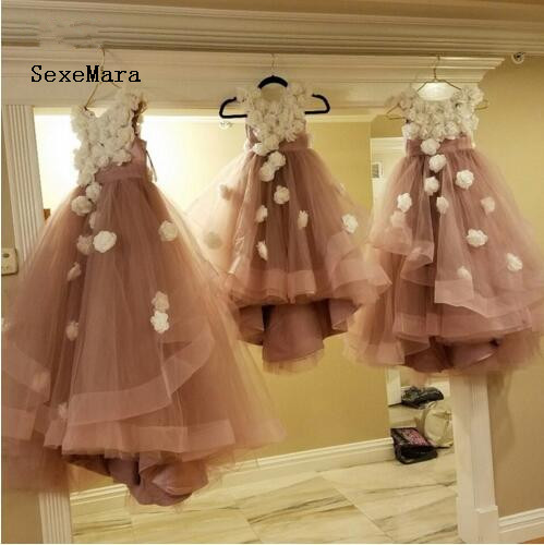 Real Picture 2018 Pink Flower Girl Dresses With Flowers Tulle Layers Girls Pageant Gowns Baby Party Dress vestido daminhaReal Picture 2018 Pink Flower Girl Dresses With Flowers Tulle Layers Girls Pageant Gowns Baby Party Dress vestido daminha