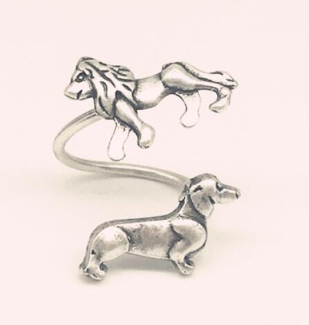 Антикварный серебряный лев и такса собака кольцо Luckly животных открытым колбасы кольца для Женская мода ювелирные изделия подарок любовник...