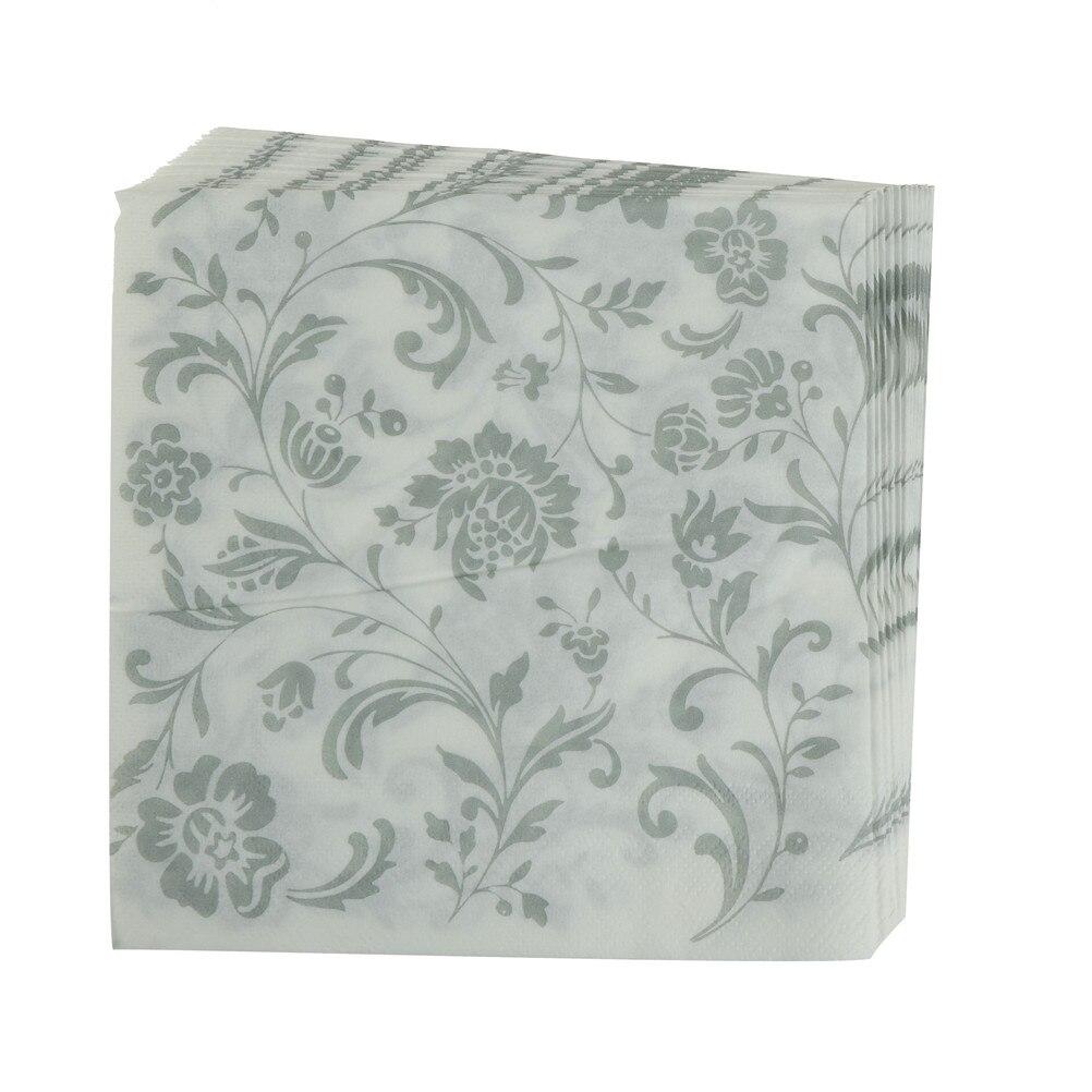 White 1 10 piezas x servilletas blanco negro patrón flores Black ornamentos