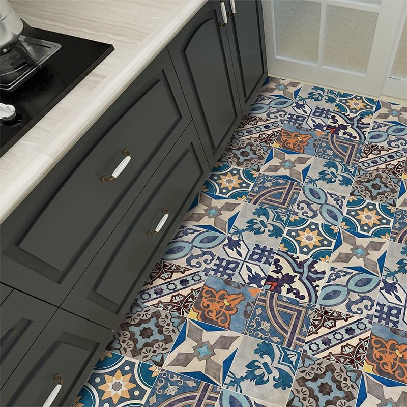 Retro National Wind Kitchen Waterproof Floor Sticker Balcony Floor