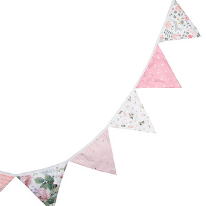 Image 4 - 12 Flags 3.2m Cute Pink Flowers Printed Cotton Fabric Bunting Pennant Flag Banner Garland Wedding/Birthday Party Decor Supplies