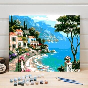 Peinture à numéros maisons au bord de la mer