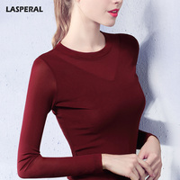 LASPERAL Plus Szie Sexy Mesh T Shirts Women Fashion Long Sleeve O Neck Tshirt Black Solid