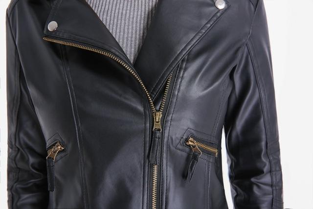Grandwish Women Leather Jacket Plus Size 4XL Short PU Leather Jacket Woman Female Moto Turn-down Collar 2018 New Spring,DA796