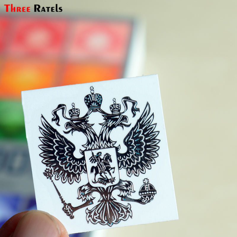 Three Ratels MT-001XS 4*3.4cm Silver Coat Of Arms Of Russia Nickel Metal Decals Russian Federation Car Stickers For Mobile Phone