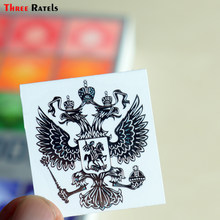 Three Ratels MT-001XS 4*3.4cm Silver Coat of Arms of Russia Nickel Metal decals Russian Federation car stickers for mobile phone(China)