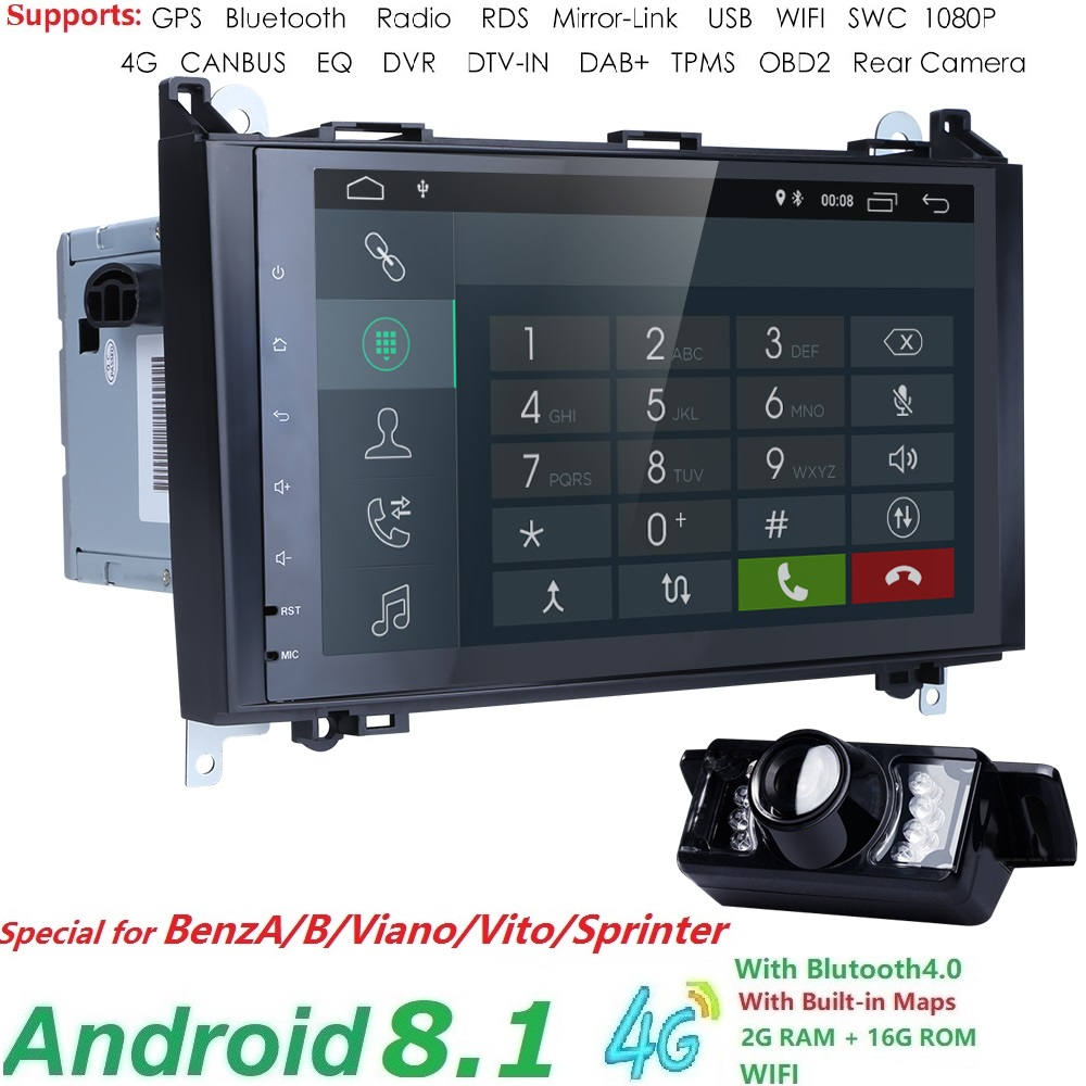 2 GRAMMES 4g WIFI 2din sans DVD GPS unité de Tête pour Mercedes Benz B200 Une Classe B W169 w245 Viano Vito W639 Sprinter W906 Radio Bluetooth